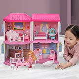 Temi Dream-Dollhouse Building-Sets Doll-Figures Furniture-Kits - Home Gift for Toddlers, Boys & Girls(4 Rooms)