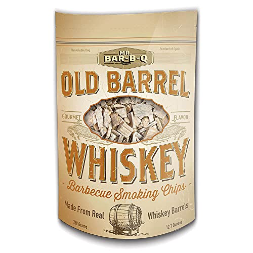 Mr. Bar-B-Q 05042BC Whiskey Smoking Chips | Old Oak Barrel Wood Smoker Chips | Made from Genuine Whiskey Barrels | Gourmet Flavor | 12.7 Ounces