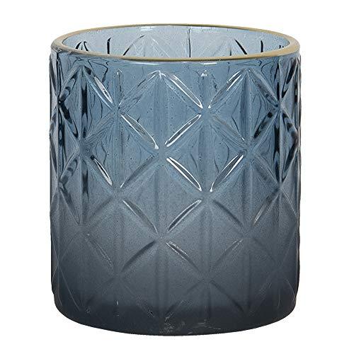 Clayre & Eef Glazen Theelichthouder 6GL2917S Ø 7 * 8 cm Blauw Glas Waxinelichthouder Windlichthouder