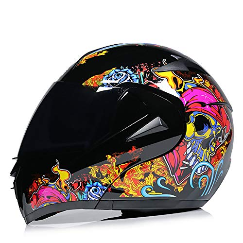Full face Motorcycle Modular flip Sports Helmet, DOT Approved Motorcycle Helmet, Moped Street car Racing flip Full face Helmet, Young Men and Women