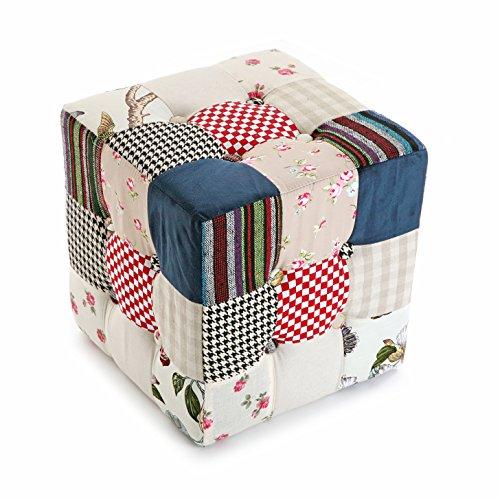 Versa Romantic Patchwork Taburete puff cuadrado Reposapiés para el salón o el dormitorio, Medidas (Al x L x An) 35 x 35 x 35 cm, Algodón, Color Azul