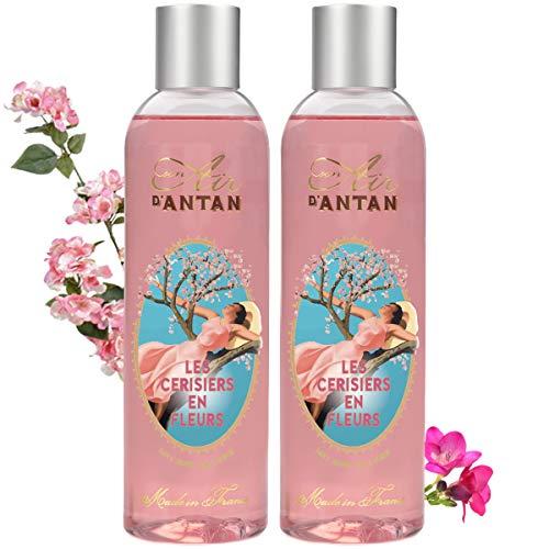 Un Air d'Antan - Set mit 2 Bade- und Duschgelen, Kirschblüte, süßer und blumiger Duft: Kirschblüte und Freesie - Schäumende und feuchtigkeitsspendende Formel - 250 ml Männer/Frauen