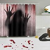 Kungfu Mall 1PC Halloween Horror Scary Bad Gardinen Ghost Blood Handprint Vorhang, 3PCS Bloody Feet Wandaufkleber für Halloween Party Decoration Prop