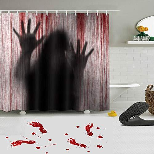 kungfu Mall 1PC Cortinas de baño aterradoras de Terror de Halloween, 3 Piezas de Pegatinas de Pared de pies sangrientos para la Fiesta de Halloween