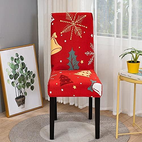 Funda Silla 6 Pieza Navidad roja Spandex,Elásticas y Modernas,Extraíbles y Lavables,Fundas de Licra para Sillas Altas Fundas Protectoras para Sillas.