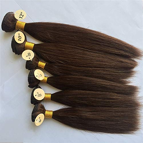 Silky straight Weaves for WIG making 20,3 cm X4PCS, 25,4 cm X1PC, 30,5 cm X1PC Human Hair Weave Bundles 6pcs totale 200 g nero marrone capelli tessitura Remy Hair