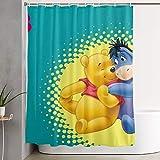 milkcolor Lustiger Stoff Duschvorhang Winnie The Pooh & Fre& Eeyore wasserdichtes Badezimmer Dekor mit Haken 60 x 72 Zoll
