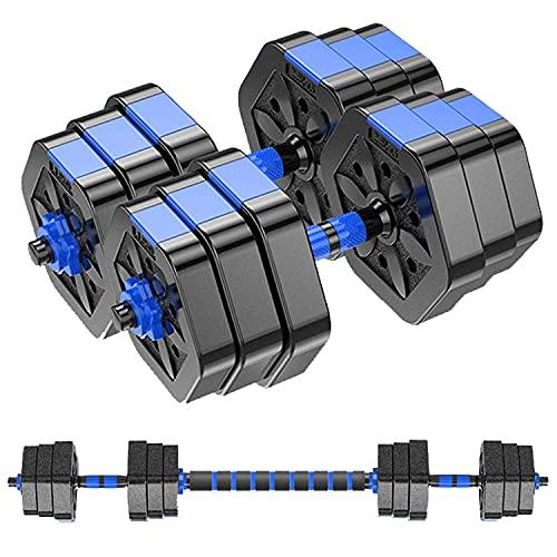 MOJEER ダンベル 可変式【最新進化版・3in1】10kg 20kg 30kg 40kg 2個セット バーベルにもなる ダンベル 無臭素材 静音 008 (10kg×2個セット/青XH)