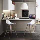 FurnitureR Conjunto de 2 taburetes de bar, sillas de bar con barra de cocina, taburetes altos modernos y nórdicos minimalistas de estilo loft con reposapiés, respaldo bajo y altura de asiento de 67...