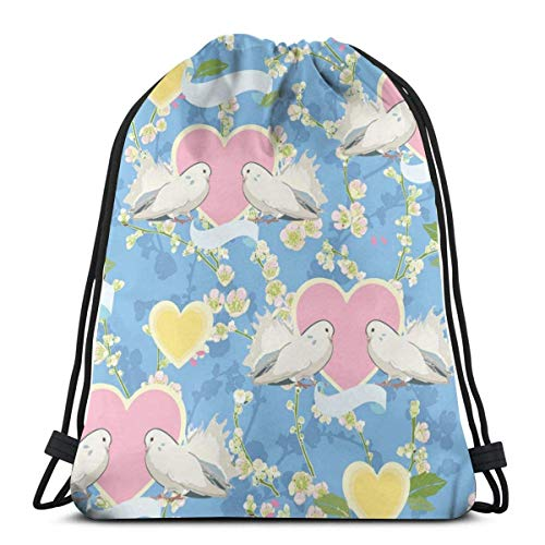 Blue Dove Heart and Cherry Drawstring Bapa Bag Sport Gym Sapa Impermeable Hombres Mujeres Cincha Bolsa para Viajes Yoga Playa Escuela