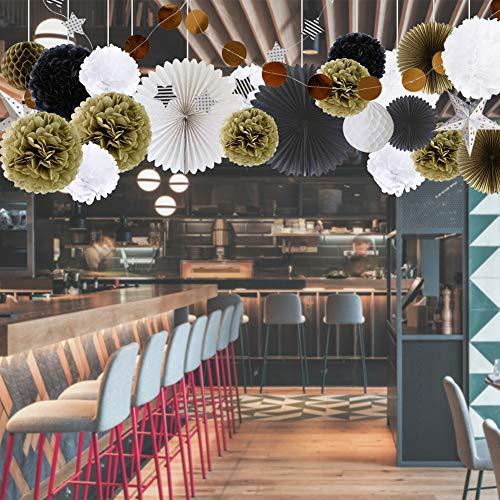 22er Set Pompoms 4 farbige Papier Seidenpapier Pompom Blumenpompons Deko Pom Pom für Party, Hochzeit,Geburtstag und Feiern Weiß, Gold, Schwarz und Silber