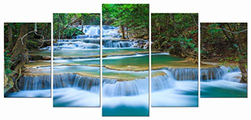 Wieco Art - Peaceful Waterfall Modern 5 Piece Stretched and Framed Artwork Giclee Canvas Prints Green Landscape Pictures Paintings on Canvas Wall Art for Living Room Bedroom Home Decorations
