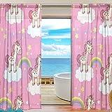 Tizorax Cartoon unicorno arcobaleno rosa tende per soggiorno, rod Pocket Window trattamento tenda tenda a pannello per camera da letto, 1pezzi, 139,7x 198,1cm, Poliestere, Multi, 55' W x 78' L