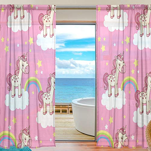 """TIZORAX Cartoon Unicorno Arcobaleno Rosa Tende per Soggiorno, Rod Pocket Window Trattamento Tenda Tenda a Pannello per Camera da Letto, 1Pezzi, 139,7x 198,1cm, Poliestere, Multi, 55\"""" W x 78\"""" L"""