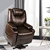 Recliner Chair, Electric Power Lift Recliner Chair Sofa, PU Leather Recliner Chair with Cup Holders and Side Pockets, Brown