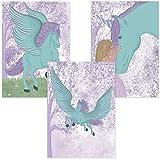 ALLEOVS® Poster - Mädchen und Pegasus - 3er Set –