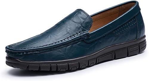 GPF-fei Chaussures Décontracté pour Homme, Printemps Nouveau Bas Top Mocassins & Slip-Ons Trekking Camping Semelles légères Décontracté Chaussures en Cuir marée Flux personnalité,bleu,47
