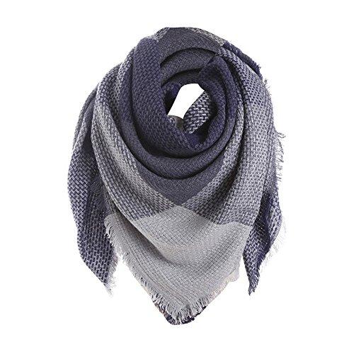 UJUNAOR Herbst Winter Kontrastfarbener Karierter Schal Damen Plaid Wraps Halstücher Poncho(Blau,One size)