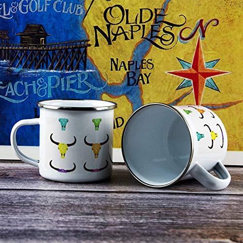 284 ml Emaille Tasse Lustige Kaffeetasse Bullenkuh Schädel Muster Illustration Kuh Ziege Familie Neuheit Kaffeetasse Tasse für Valentinstag Geburtstag