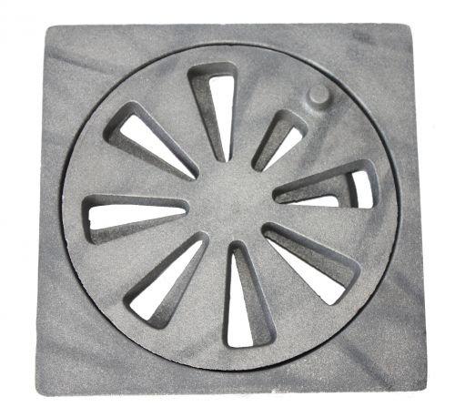 Schudrooster van gietijzer, rond ø 190 mm, inclusief rechthoekige oplage, 25 mm materiaaldikte, 210 x 210 mm (breedte x diepte).