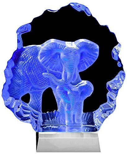 Kaltner Präsente Geschenkidee - Aufsteller Figur Skulptur Ornament aus Glas Motiv Elefant Elefantenbaby mit LED Beleuchtung