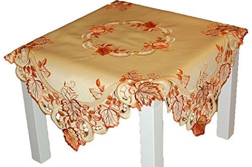 Espamira TISCHDECKE 85x85 cm quadratisch Herbst Gelb BLÄTTER orange rot üppig gestickt Polyester (Mitteldecke 85x85 cm quadratisch)