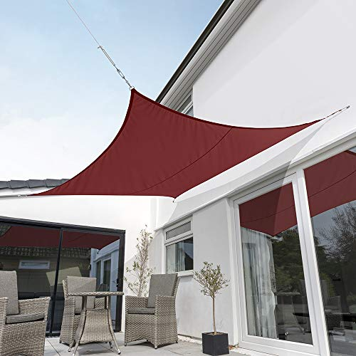 Kookaburra Wasserfest Sonnensegel Weinrot Wasserabweisend Imprägniert Wetterschutz 98% UV Schutz für Garten Terrasse und Balkon (3,6m Quadrat)