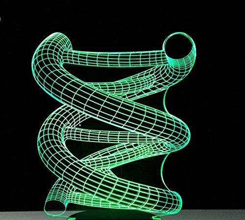 Luz nocturna 3D - 3D LED Luz de noche ilusión ADN Modelo 7 colores LED Touch lámpara de mesa con control remoto para niños cumpleaños regalo Iluminación infantil nocturna