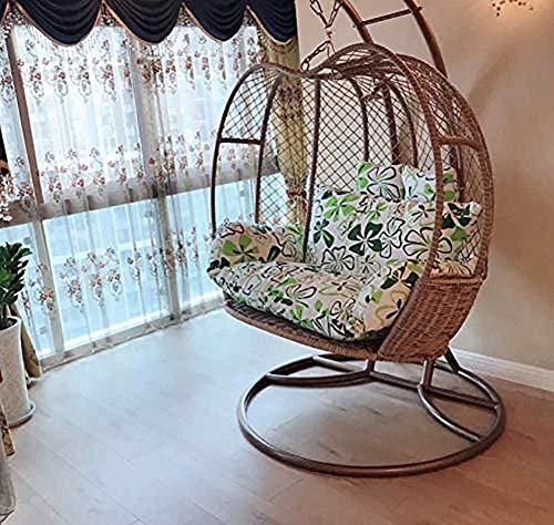 Almohadilla gruesa para silla con nido de huevos para balcón, alfombrilla para columpio de cesta para césped de patio trasero, gran tamaño para 2 personas, cojín para silla colgante tipo hamaca H