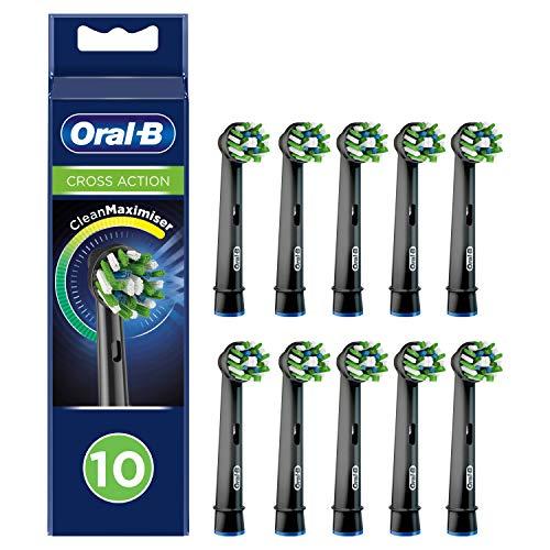 Oral-B CrossAction Black Edition Aufsteckbürsten mit CleanMaximiser-Borsten für ganzheitliche Mundreinigung, 10Stück
