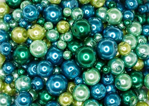 Lusso Lia 440 pièces: 4mm, 6mm, 8mm et 10mm Perles Rondes de Perles de Verre dans Les Couleurs Assorties de Bleu et Vert pour la Fabrication de Bijoux et Les Arts et l