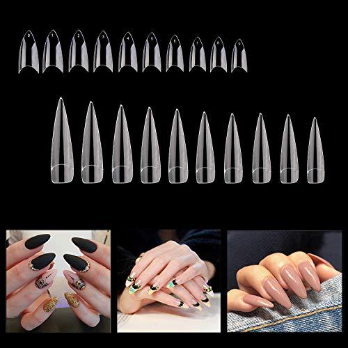 Noverlife 1000PCS Falsche französische Nagelspitzen, Stiletto-förmige Nägel, 10 Größen, künstliche Acryl-Kunstnägel mit vollständiger Abdeckung Maniküre Klare falsche Fingernagelspitzen