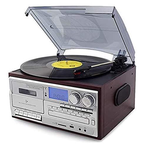ZHIRCEKE Vinil Platino para Reproductor de Discos de Vinilo Bluetooth, CD Platinum, Cassette, Entrada Auxiliar de Radio Am/FM, codificación USB SD, Control Remoto,A