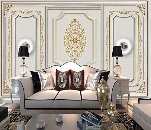 Tapete 3D Wand europäisches Muster der vergoldeten Pflaster-Wand-Wandgemälde 3D modern Tapete 3d wandbild tapeten vintage Moderne Hintergrundbild-350cm×256cm