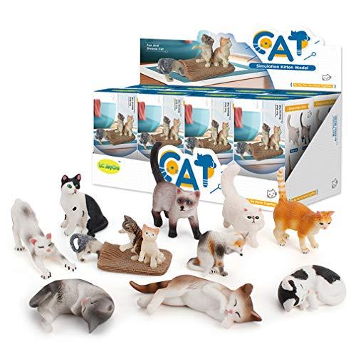TIM-LI Juguetes De Caja Ciega Modelo De Gato Mascota - Mini Modelo De Adornos De Animales Conjunto De Juguetes Educativos Preescolares, Juguetes De Modelado Aleatorio para Niños