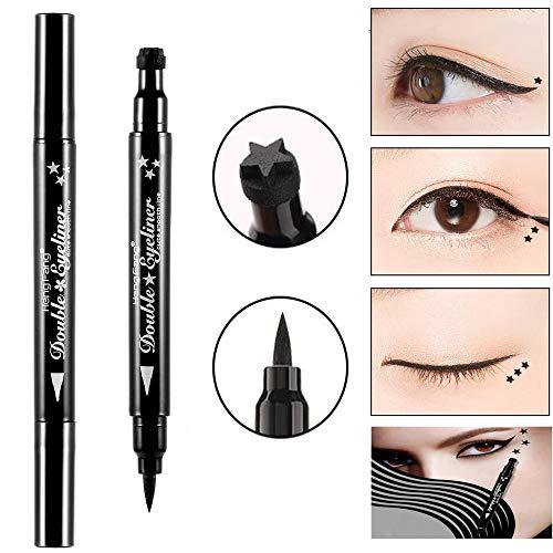 Pinkiou wasserdichter Eyeliner-Stift mit Make-up-Stempel-Stern-Double-End-Eyeliner-Make-up-Tool...