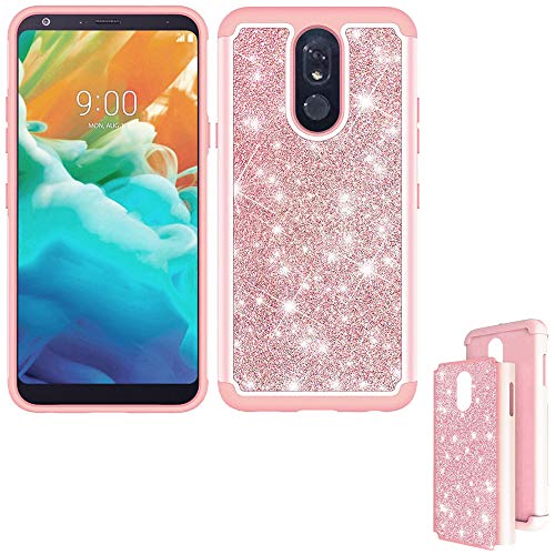 Wireless Accessories Phone Case Compatible with LG Stylo-5V Case/LG Stylo-5 Case/Cricket LG Stylo-5 Q720cs Case Glitter Bling Dual-Layered Cover (Glitter Bling Rose Gold)
