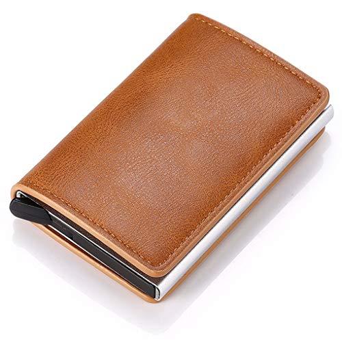 Qsnn Kartenetui, Kreditkartenetui aus Metall für RFID Blocker, Geldbörse Leder Kreditkarten mit Geschenkbox für Herren und Damen, Slim-Cards Wallet bis zu 6Kreditkarten - Braun