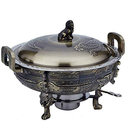 YYCHJU Chinesischen Stil Antik geprägte Kupfer Hot Pot Flachmann Antik Kupfer kleine Hot Pot Carbon Solid Fire Boiler Raum trocken kommerziellen Edelstahl (Color : Bronze)