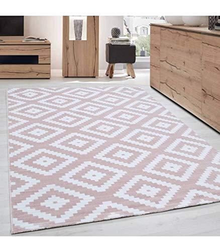 Moderner Wohnzimmer Elegance Designer Teppich Kurzflor Puderrosa Weiß - 120x170 cm