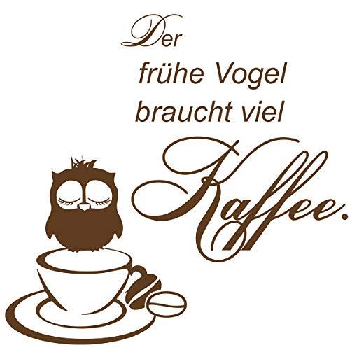 greenluup Wandtattoo Küche - Wandaufkleber Kaffee Spruch der frühe Vogel braucht viel Kaffee - Deko Schlafzimmer, Büro, Gästezimmer, Teeküche Braun