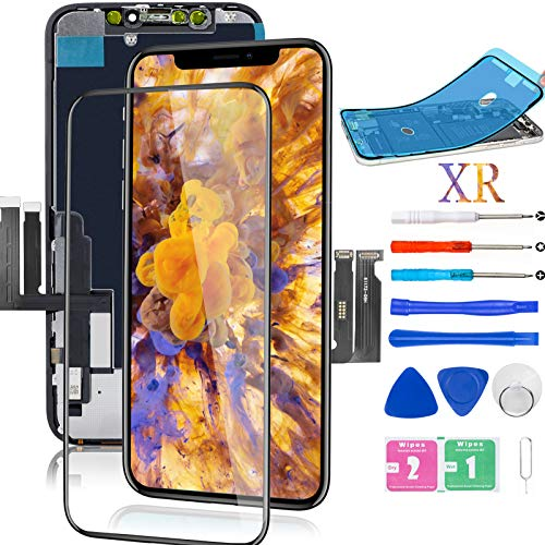 for iPhone XR Screen Replacement 6.1 inch, LCD Screen Replacement LCD Digitizer Assembly with 3D Touch+Screen Protector+Waterproof Glue+Repair Tool A1984 A2105 A2106 A2108
