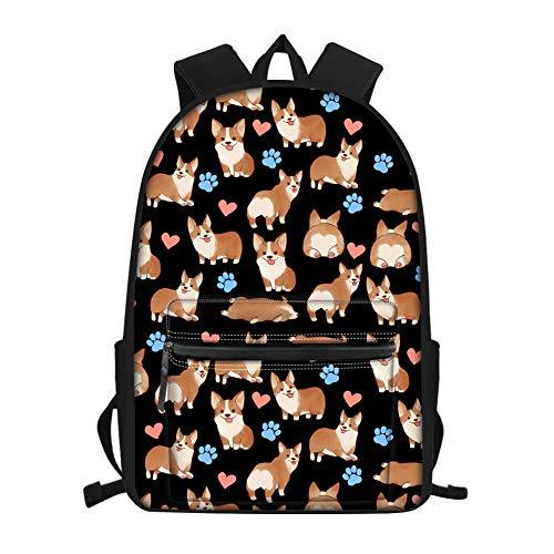 Showudesigns School Bag Packs for Teen Girls Boys Corgi Heart Print Kids Backpack Dog Cute Book Bag for Middle School/High Sierra Laptop Backpack 15.6 inch Black