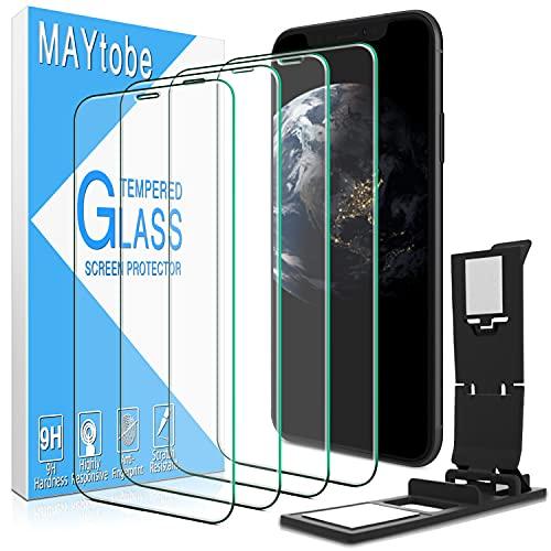 MAYtobe (4 pezzi) iPhone 11, XR Vetro temperato, Pellicola proteggi schermo, Anti-graffio, Senza bolle, Durezza 9H, Nessuna impronta digitale, HD Clear