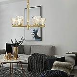 Scra AC Plafoniera interamente in rame, lampadario post-moderno cristallo soggiorno, stile e semplice camera da letto sala da pranzo, lampade nordiche e lanterne D68/80CM (dimensioni: L)