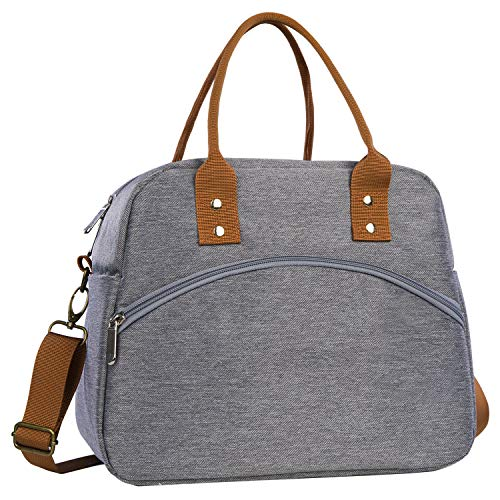 Insulated Lunch Bag Reusable Lunch Tote Bag Cooler Bag for Women Men Adult Lunch Box with Adjustable Shoulder Strap Leakproof Lunch Bag for Work School Picnic Camping - Grey