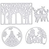 4 Pieces Christmas Metal Cutting Dies Tree Snowflake Deer Pattern Cutting Dies for DIY Scrapbook Paper Card Making Craft Decoration Supplies