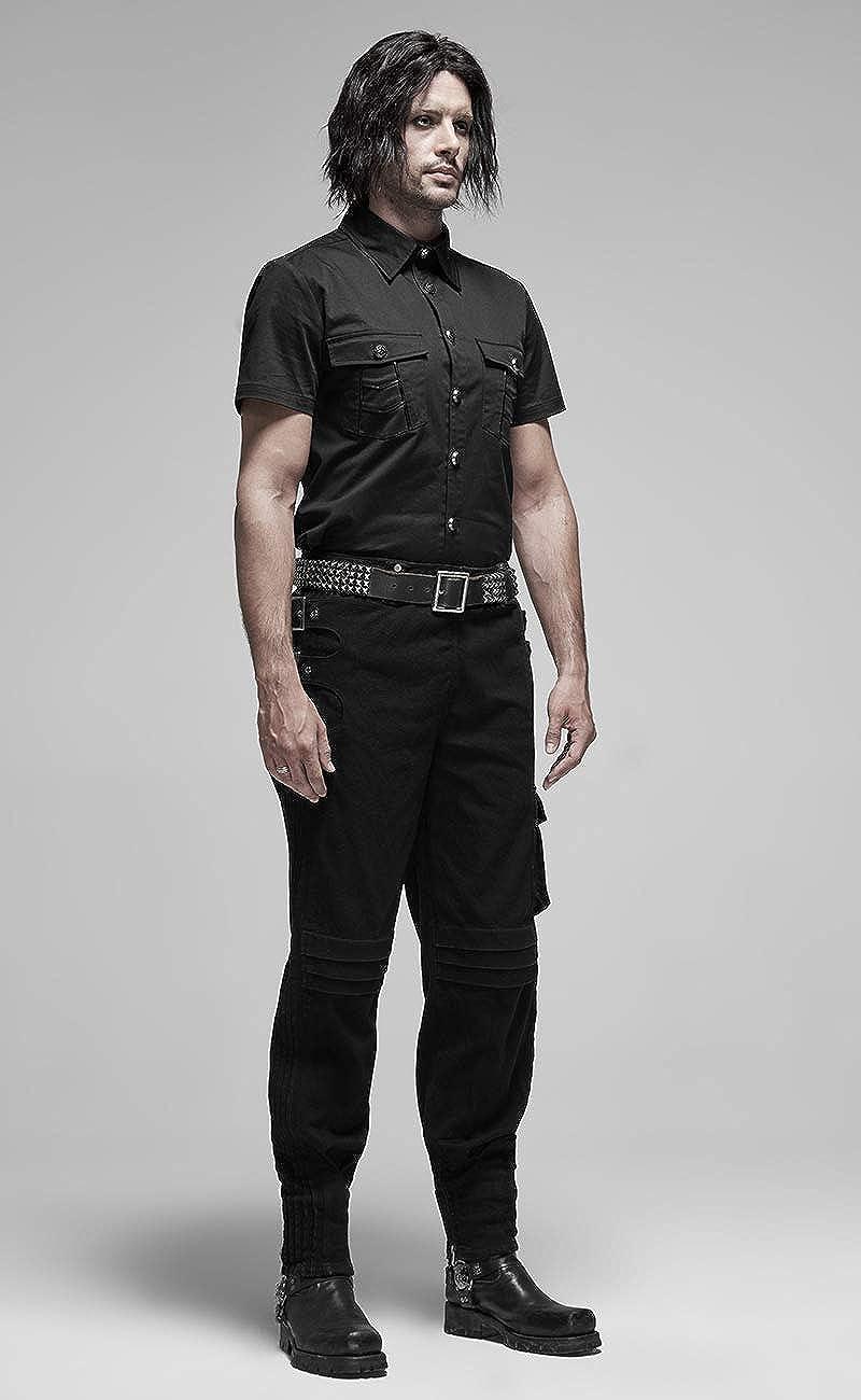 Punk Rave Pantalon en Jeans Noir Ample avec Poches et Sangles, Gothique Metal Militaire Noir