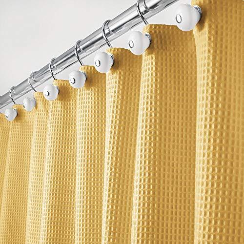 mDesign Luxus Duschvorhang – weicher Badewannenvorhang mit Waffelmuster – pflegeleichter Duschvorhang – senfgelb
