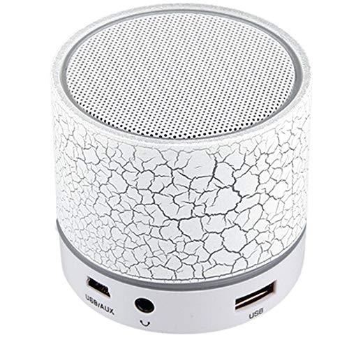 OYZK Altavoces Altavoz Portátil Bluetooth Wireless LED A9 Caja de Sonido subwoofer for iPhone Apoyo TF Tarjeta SD PK BTS06 Q9 A9 S28 A5 (Color : Blanco)